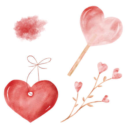 Love watercolor clipart set with red texture, heart shaped candy, pendant, flowers. Reklamní fotografie