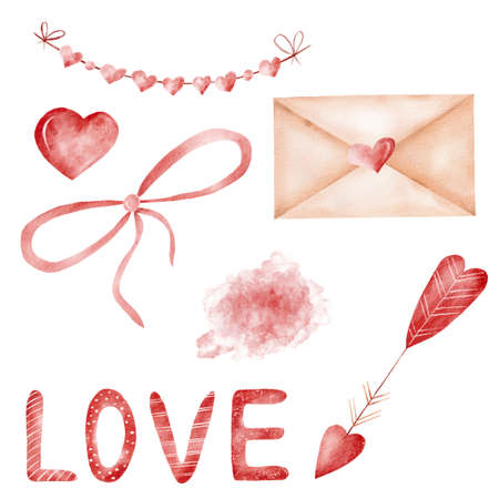 Love valentine clipart set. Watercolor illustrations for cards,invitations, gift certificate, scrapbooking. Reklamní fotografie