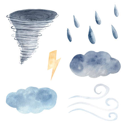 Watercolor clipart set with weather elements. Tornato, cloud, wind, lighting bolt, raindrops painting.