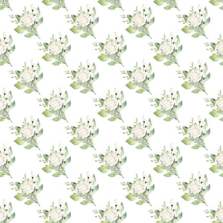 Watercolor white flower seamless pattern. Hand painted digital paper.