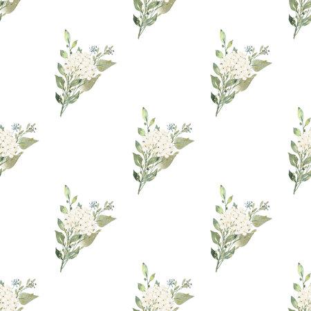 White flowers watercolor digital paper. Seamless pattern illustration.