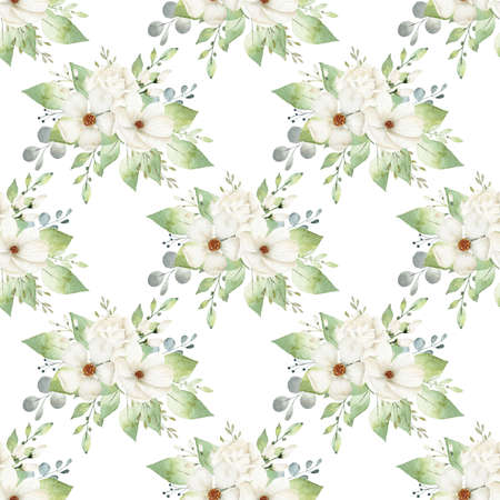 Watercolor white flowers digital paper. Aquarelle floral illustration for textile, fabric, invitation, wedding.