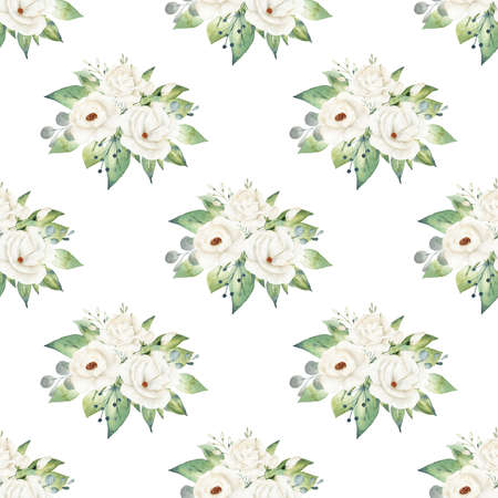 White flowers watercolor digital paper. Semless pattern clipart. Reklamní fotografie