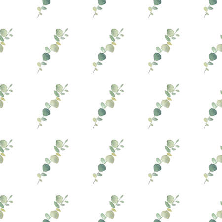 Watercolor greenery leaves branch digital paper. Botanical clipart for invitations, greeting cards, diy scrapbooking.