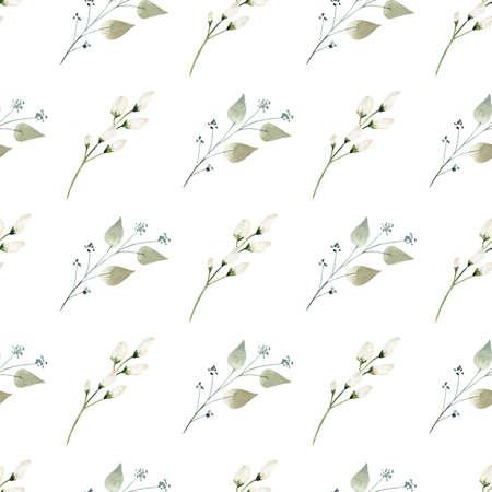 Floral watercolor digital paper. Cute hand painted clipart. Reklamní fotografie