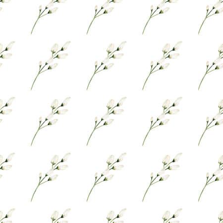 Watercolor white flowers digital paper. Illustration for invitations, greeting cards, diy scrapbooking. Reklamní fotografie