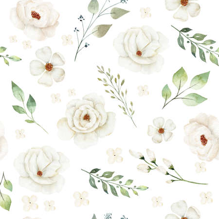Watercolor white flowers digital paper. Hand painted clipart. Floral illustration for textile, fabric, invitation.