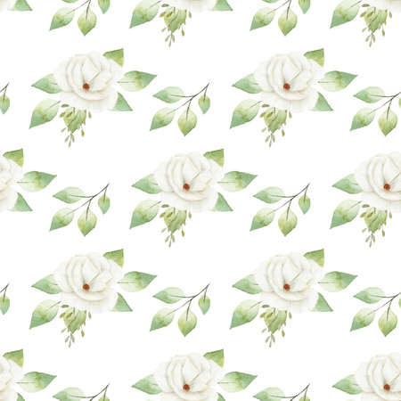 Watercolor white flowers digital paper. Hand painted clipart. Graphics for diy, wallpaper. Reklamní fotografie