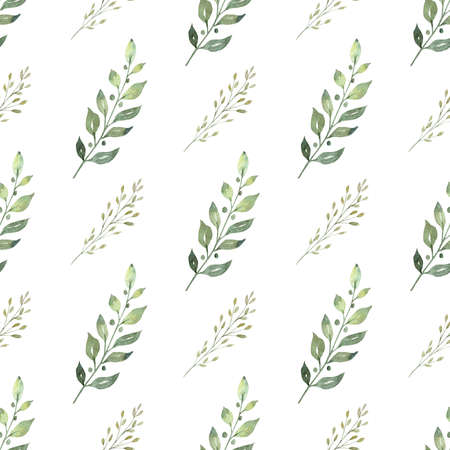 Greenery leaves branch digital paper. Hand drawn seamless pattern watercolor clipart.