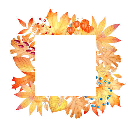 Watercolor orange fall leaves frame. Hand painted autumn illustration. Perfect for invitations, greeting cards, diy projects, scrapbooking, banner, logo.