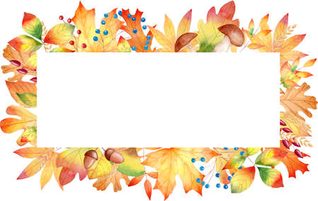 Fall leaves frame watercolor clipart. Autumn orange leaf illustration. Clip art for invitations, greeting cards, diy projects, scrapbooking, banner, logo.