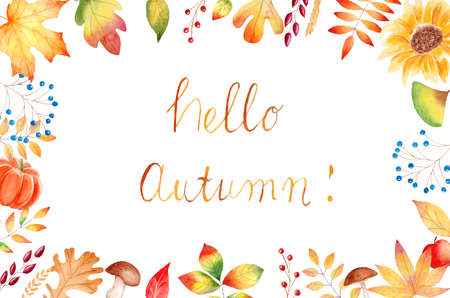 Autumn orange leaves, sunflower, pumkin frame. Fall watercolor clipart. Graphics for invitations, greeting cards, diy projects, scrapbooking.