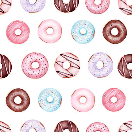 Donuts watercolor clipart seamless pattern. Hand drawn digital paper. Graphics for diy, scrapbooking, wallpaper, textile, nursery decor.