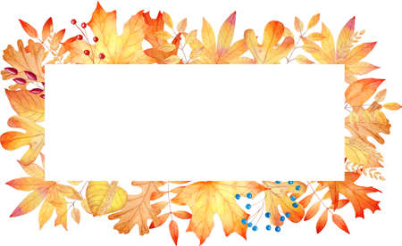 Autumn orange leaves frame watercolor clipart. Hand painted fall illustration. Graphics for invitations, greeting cards, diy projects, scrapbooking, banner, logo.