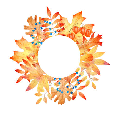 Autumn leaves round frame. Hand painted watercolor clipart. Fall illustration. Graphics for invitations, greeting cards, diy projects, scrapbooking, banner, logo.