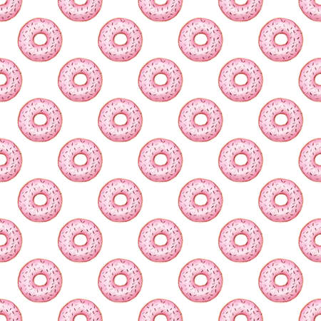 Bakery donuts watercolor clipart. Summer digital paper. Hand painted illustration isolated on white. Reklamní fotografie