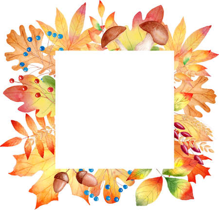 Fall orange leaves watercolor clipart frame. Hand drawn autumn illustration. Graphics for diy, scrapbooking, invitations, greeting cards.