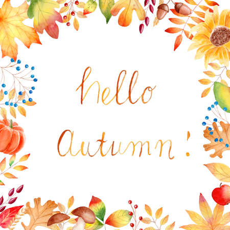 Fall leaves frame watercolor clipart. Orange pumpkin, sunflower illustration. Graphics for invitations, greeting cards, diy projects, scrapbooking, banner, logo. Reklamní fotografie