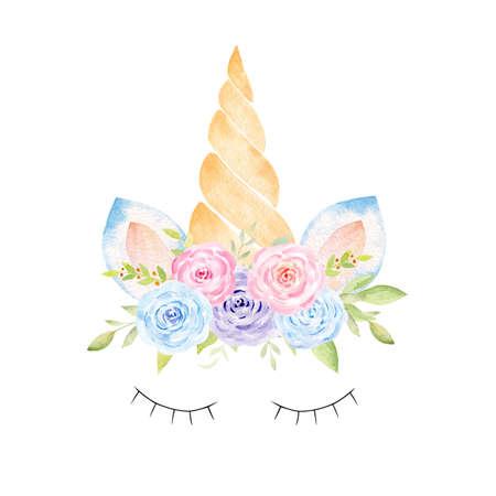 Unicorn head kids fantasy watercolor clipart. Hand painted illustration. Perfect for baby shower, nursery art, kids fabrics.