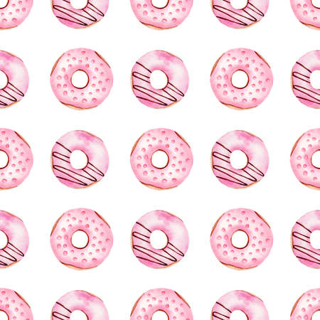 Donuts watercolor clipart seamless pattern. Hand painted digital paper. Graphics for diy, scrapbooking, wallpaper, textile, kitchen decor.