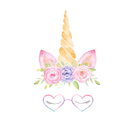 Unicorn head with rainbow mane, lashes, corn, glasses, flowers watercolor clipart. Hand painted illustration. Perfect for baby shower, nursery art, kids fabrics.