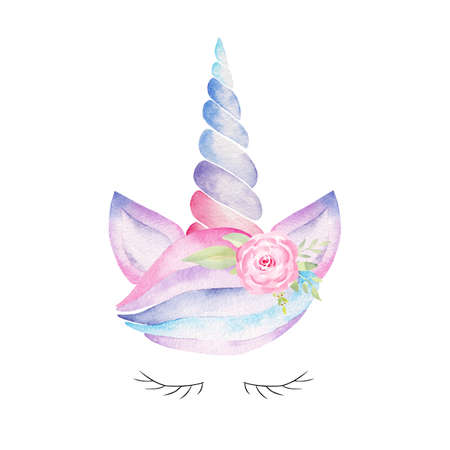 Watercolor unicorn head. Hand painted clipart. Fantasy illustration. Graphics for nursery decor, baby shower, kids textile.