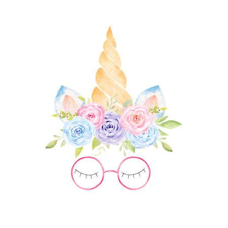 Watercolor unicorn head. Hand painted clipart. Fantasy graphics for baby shower invitation, kids nursery decor, fabrics, textile. Reklamní fotografie