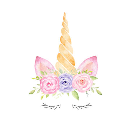Unicorn head fantasy watercolor clipart. Hand drawn illustration. Kids fantasy graphics for nursery, baby shower, fabrics. Reklamní fotografie
