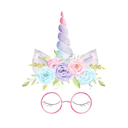 Watercolor unicorn head with flowers, ears, corn, glasses, lashes. Hand painted fantasy clipart. Graphics for nursery decor, baby shower, kids textile. Reklamní fotografie