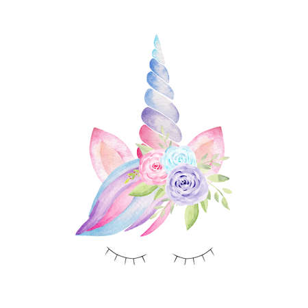 Unicorn head with corn, ears, flowers, rainbow mane, lashes watercolor clipart. Hand painted illustration. Graphics for nursery decor, baby shower, kids textile.