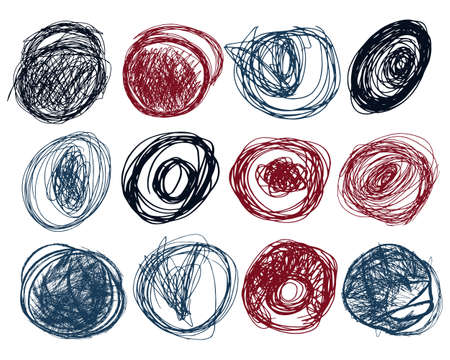 Pen stroked circles set. Hand drawn collection. Scribble brushes in trendy blue, red and black color. Vector illustration of design graphic elements. Isolated on white. Grunge scrawl.