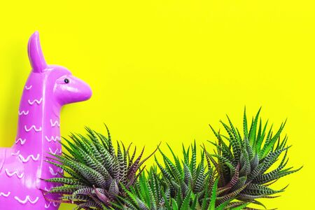 Pink purple zine type head of a toy alpaca llama on a glowing yellow background with green zebra cactus plant . Creative and fun trendy collage animal concept with copy space