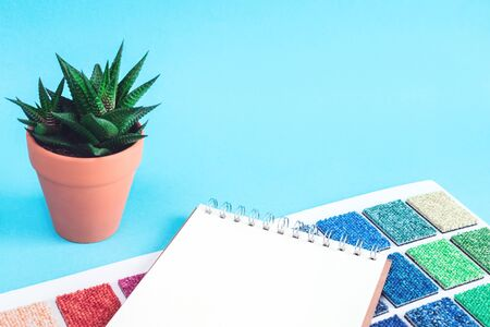 Multicolored carpet swatches catalogue book and notepad on blue desk background with a cactus in a pot. Interior or refurbishment design with copy space Reklamní fotografie