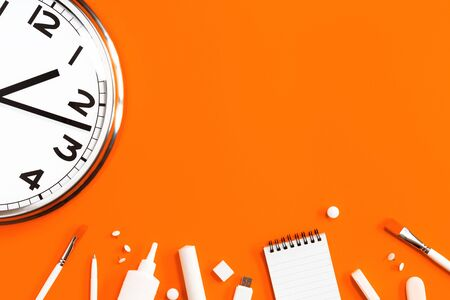 Part of analogue plain wall clock on trendy orange background with white stationery items. One oclock. Close up with copy space, time management or fall school concept and opening hours time Imagens