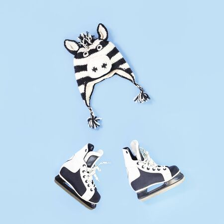 Winter is here creative concept. Zebra funny face winter hat and skates flat lay on baby blue with copy space. Seasonal activity for kids Stock fotó