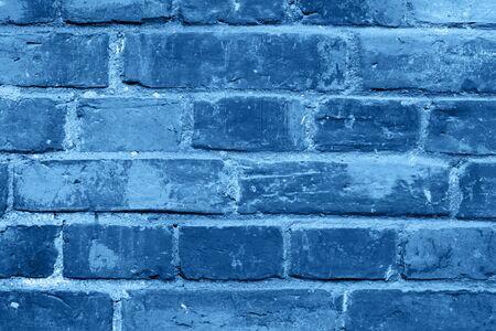 Classic blue trendy pastel monochromatic weathered brick wall background texture Stok Fotoğraf