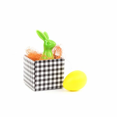 Easter greeting card with retro bunny in a box and an egg isolated on white. Happy Easter card mockup Banco de Imagens