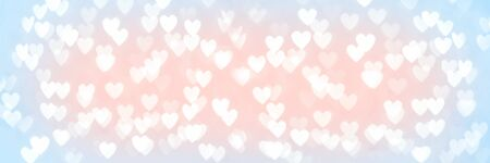 Abstract blue and red pink heart glitter light bokeh holiday and festive party background. Love sentiment and St Valentines day concept backdrop long banner with copy space