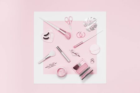 Tender pink monochrome feminine makeup tools and silver accessories framed. brushes eye lashes mascara on candy pink. Flat lay, birthday beauty cosmetics blogger advert concept. Heart, love hair clips