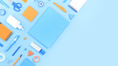 Assorted office and school white orange and blue stationery on pastel background as corner border. Flat lay with copy space for back to school or education and craft concept. Blue banner
