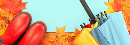 Autumn leaves frame with red rubber boots and umbrella. Fall foliage web banner. Weather forecast, rain. Bright orange and red maple tree leaves. Copy space on blue