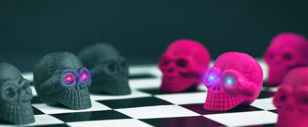 Halloween party set up props. Neon Pink and black sculls on a chess board. Glowing eyes. Death symbol. Fear and horror concept. Dia de los Muertos and Halloween. Dark themed long banner