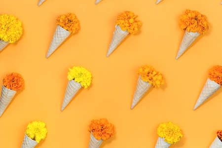 Orange and yellow flowers in waffle cones flat lay pattern on saffron yellow background. monochromatic gift or festive concept