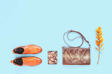 Fall clothing. Pair of trendy fashion orange chelsea boots and animal print leather bag and purse on blue. Bright autumn accessories bloggers concept with copy space. Flat lay