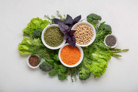 Healthy food, source of protein for vegetarians. Balanced diet top view.