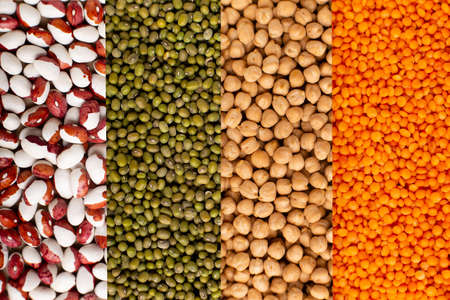 Colorful legumes: chickpeas, lentils, beans collage top view. Website header banner. Stock fotó