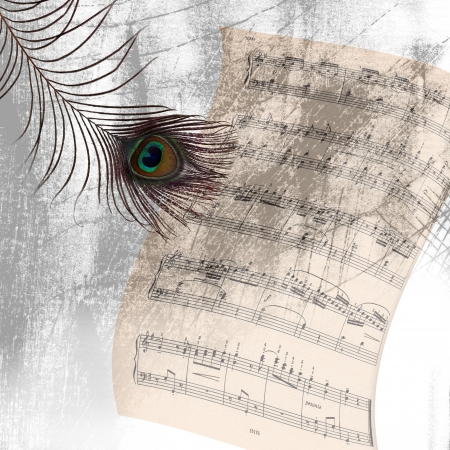 feathe: old beige background with notes and the peacock feathe