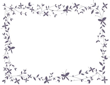 thickets: Framework from the bound branches with flowers and butterflies
