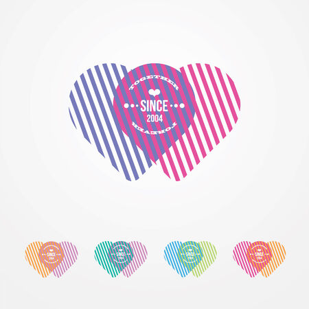 women s day: two connected hearts color illusion