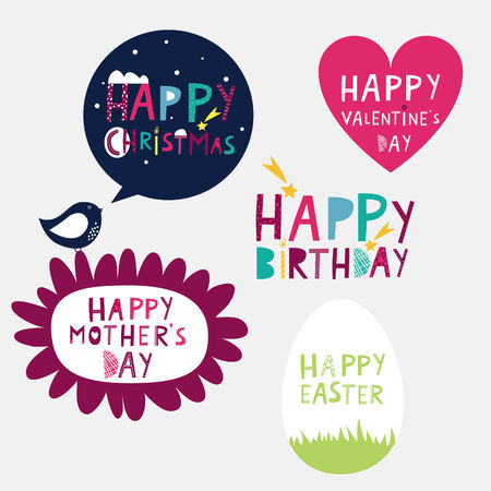 happy valentine s day: bright congratulations on sticker holidays Illustration